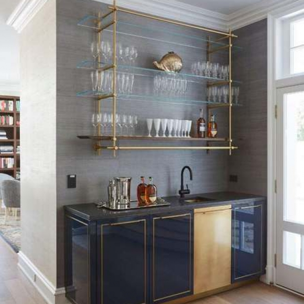 Кухня Amuneal's Gloss Lacquer Bar with Integral Brass Sink